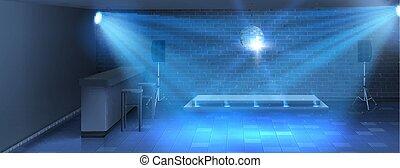 plancher, danse, vecteur, fond, intérieur, vide