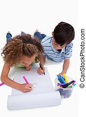 plancher, enfants, quoique, portrait, dessin, mensonge