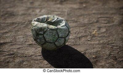 plancher, football, vieux, ciment, balle