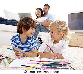 plancher, frère, soeur, dessin, jouer