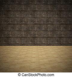 plancher, grunge, mur, bois