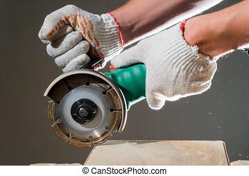 plancher, laminate, entrepreneur, découpage, nouveau, utilisation, scie, rénovation, circulaire