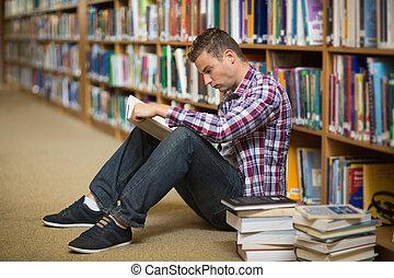 plancher, lecture, étudiant, bibliothèque, séance