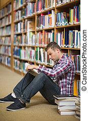 plancher, lecture, étudiant, bibliothèque, sérieux, séance