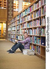 plancher, lecture, étudiant, gai, bibliothèque, séance