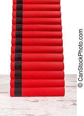 plancher, livres, tas, fond, parquet, blanc rouge