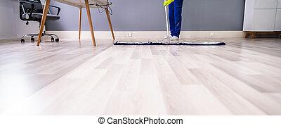 plancher, mâle, bureau, concierge, nettoyage
