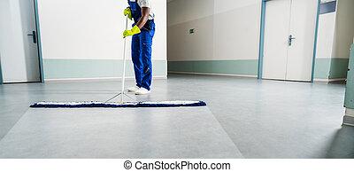 plancher, mâle, nettoyage, concierge, bureau