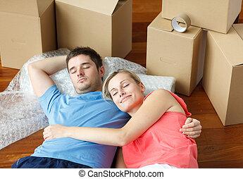 plancher, maison, couple, après, dormir, en mouvement, heureux