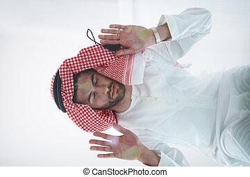 plancher, maison, musulman, jeune, arabe, verre, homme, ...