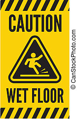 plancher mouillé, prudence