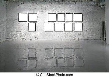 plancher, mur, réflexions, cadres, brique blanche