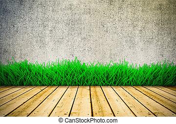 plancher, mur, vendange, bois, arrière-plan vert, herbe