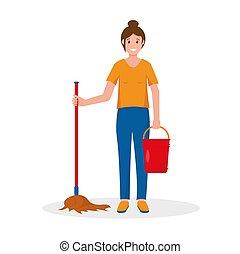 plancher, nettoyage, seau, lavette, femme