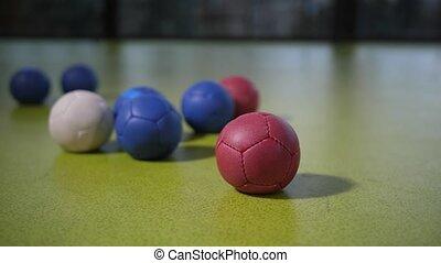 plancher, pendant, surface, balles, coloré, boccia, jeu