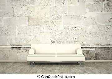 plancher pierre, mur, photo, mural, sofa