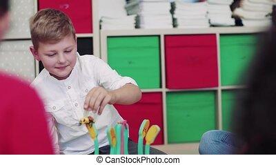 plancher, prof, classe, groupe, séance, petit, école, learning., gosses