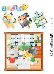 plancher, puzzle, puzzle, jeu, nettoyage, gosse