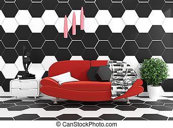 plancher, salle vide, haut, 3d, granit, vivant, mur, railler, cadre, blanc, interior., rendre, moderne, grenier, plnts, lampe, brique, -
