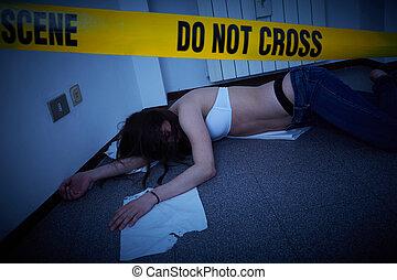 plancher, -, scène, crime, victime, mensonge