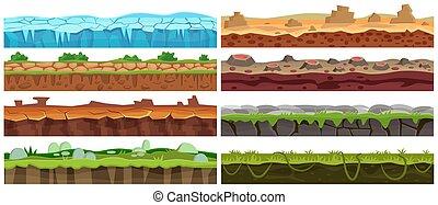 plancher, set., seamless, collection, jeu, vecteur, conception, interface., dessin animé, paysage, terrestre