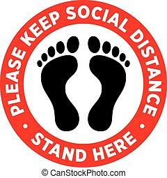 plancher, sticker., ou, distancing, signage, social