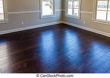plancher, sur, fenetres, uv, bois dur, par, lumière
