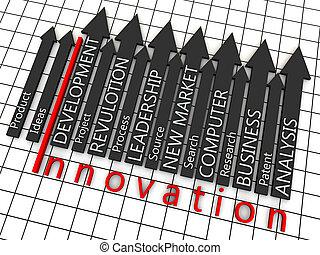 plancher, sur, flèches, étapes, noir, innovation, grille, blanc