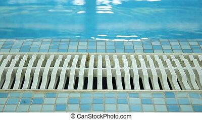 plancher, vide, carrelé, drainage, piscine, natation