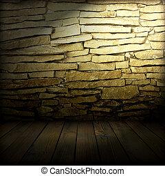plancher, vieux, mur