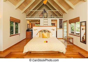 planchers bois dur, chambre à coucher