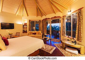 planchers bois dur, coucher soleil, confortable, chambre à coucher