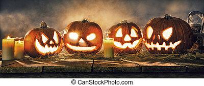 planches bois, potirons, effrayant, halloween