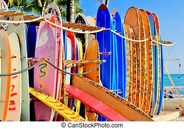 planches surf, coloré
