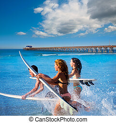planches surf, courant, sauter, adolescent, surfers