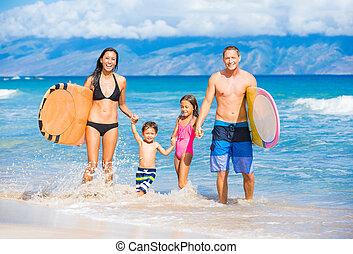 planches surf, famille, heureux