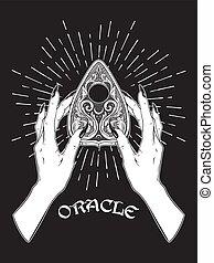 planchette, tabla, hembra entrega, oráculo, espíritu