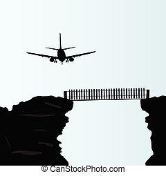 plane above the bridge on the cliff vector illustration