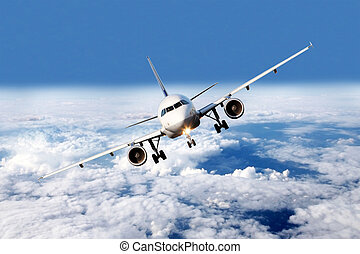 Plane above the clouds - Airliner with stretched chassis...