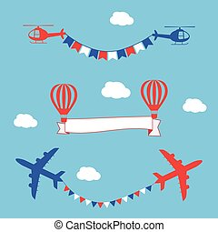 Plane, air balloons and helicopters flying with advertising banner and flags.