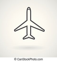 Plane, aircraft line icon, vector