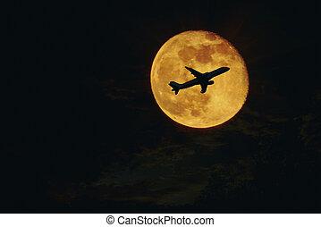 plane, aircraft silhouette against full moon