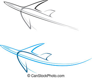 Plane, airliner - Flying airplane - stylized vector ...