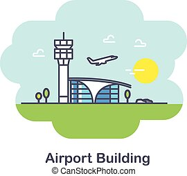 Plane and Airport building. Flat Design Illustration. Line Icon.