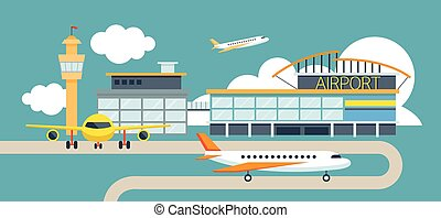 Plane and Airport Flat Design Illustration Icons Objects -...