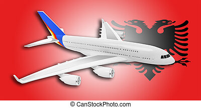Plane and Albania flag.