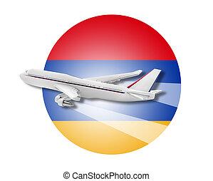 Plane and Armenia flag.