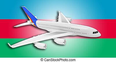 Plane and Azerbaijan flag.
