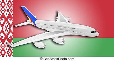 Plane and Belarus flag.