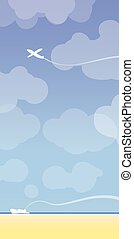 Plane and boat with sky background.